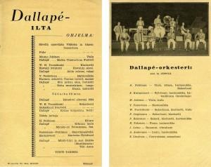Dallapén kesakiertueen kasiohjelma v. 1934